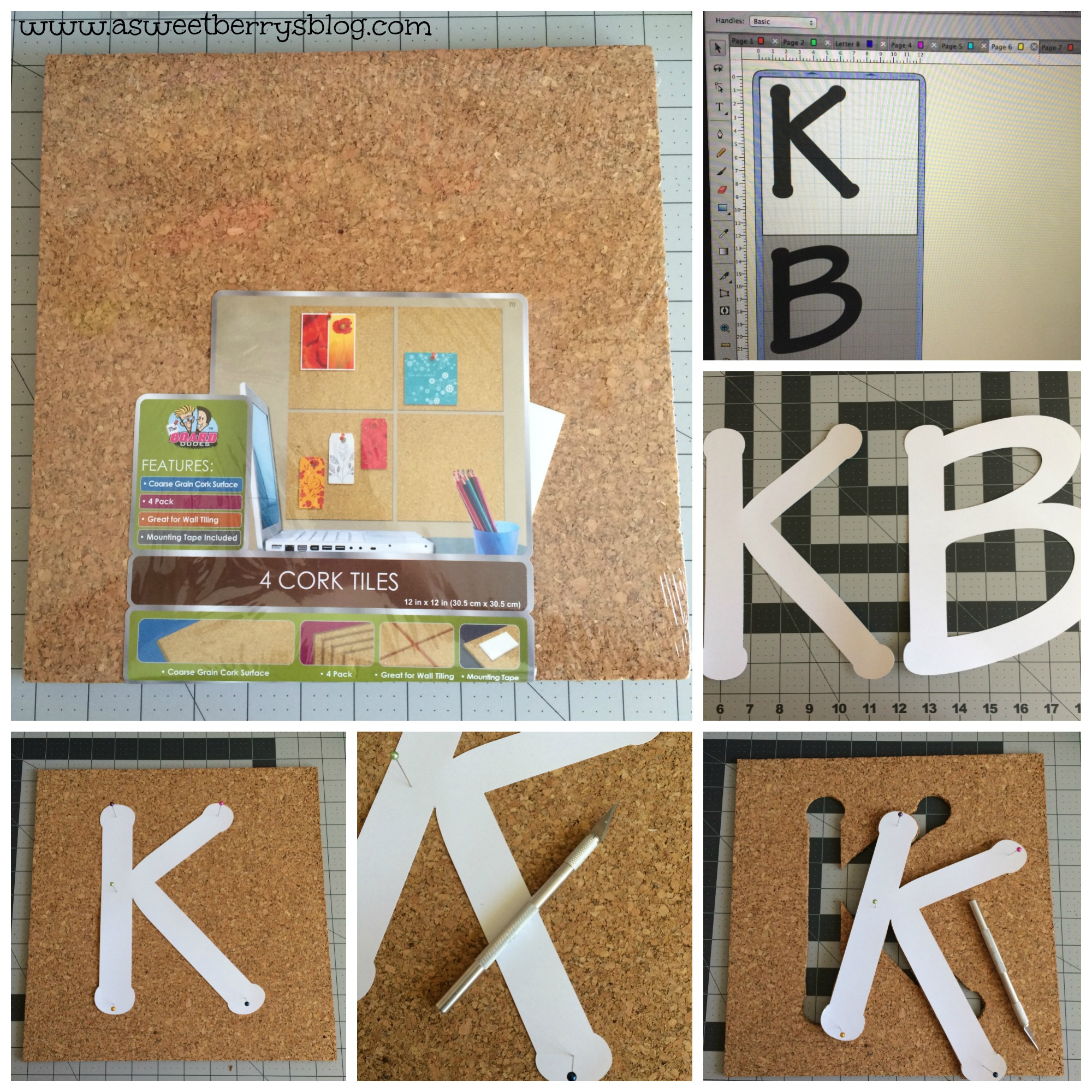 initial cork boards a sweet berry designs blog. Black Bedroom Furniture Sets. Home Design Ideas
