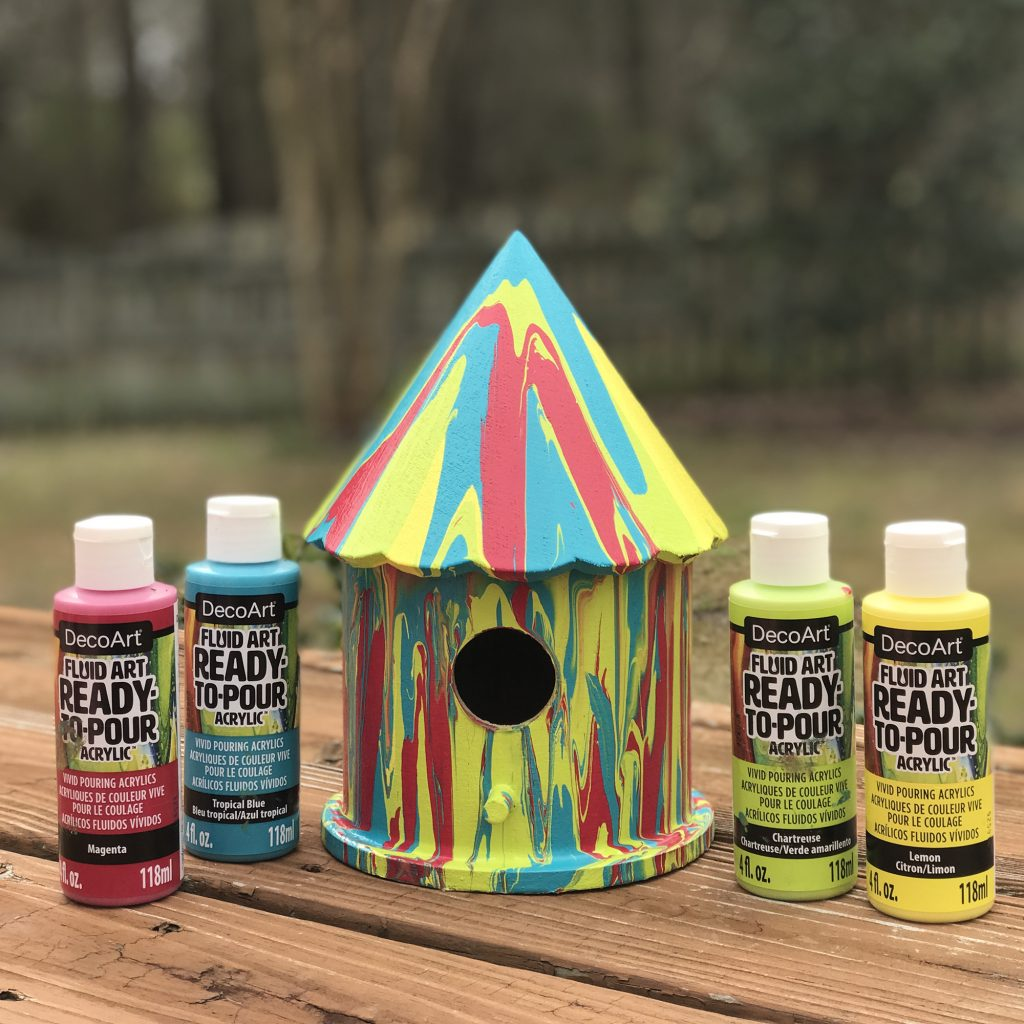 Poured Paint Birdhouse A Sweet Berry Designs Blog